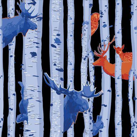 Animales salvajes del bosque escondidos entre los abedules. Vector repetido patrón transparente dibujado con pincel áspero en colores de contraste