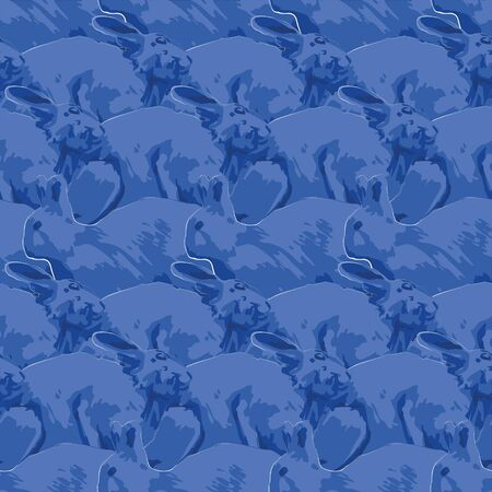 Vector repeated seamless pattern of cute rabbits in the side view drawn with rough brush in blue colors