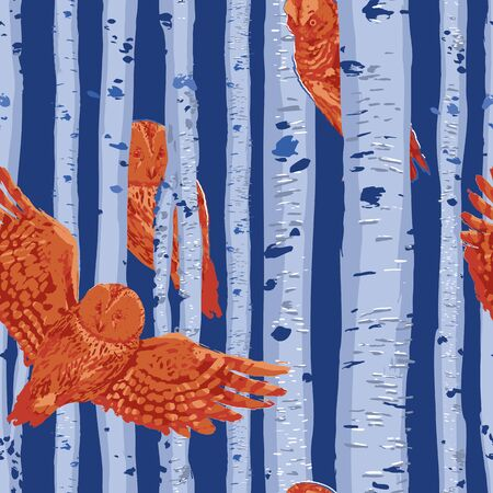 Sitting and flying owls with birsh trunks on the background. Vector repeated seamless pattern drawn with rough brush in contrast colors