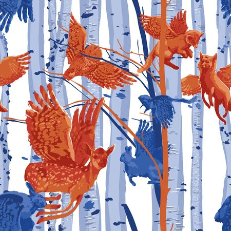 Winged forest animals flying among birch trunks. Vector repeated seamless pattern drawn with rough brush in contrast colors
