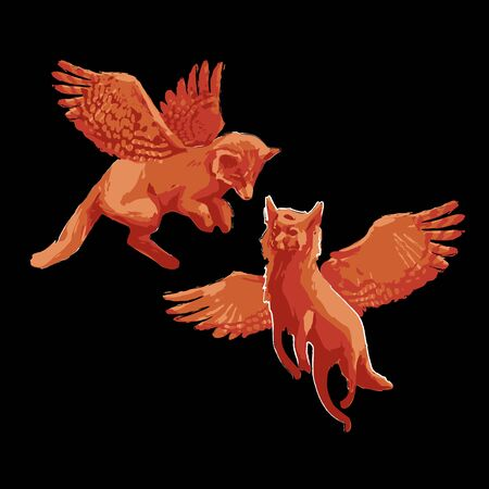 Two isolated winged foxes flying on the black background. Vector fantasy illustration drawn with rough brush in warm colors Stock Illustratie