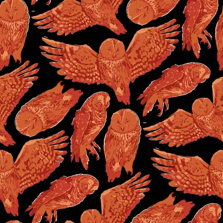 Vector repeated seamless pattern of forest owls drawn with rough brush in contrast colors