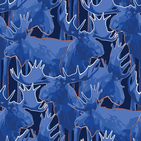 Standing moose. Vector repeated seamless pattern drawn with rough brush in contrast colors