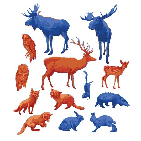 Collection of different forest animals isolated on white background. Vector illustration drawn with rough brush in contrast colors