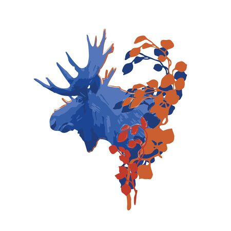 Moose head in the side view decorated with leaves. Vector illustration drawn with rough brush in contrast colors