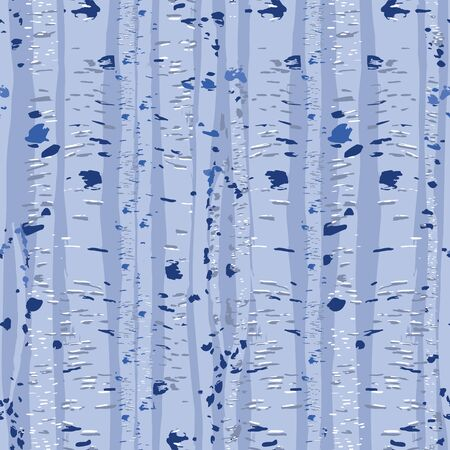 Graphic trunks of birch trees. Forest mood. Vector repeated seamless pattern drawn with rough brush in blue colors Stock Illustratie