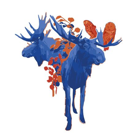 Two standing moose and two owls sitting on the horn decorated with leaves. Vector illustration drawn with rough brush in contrast colors
