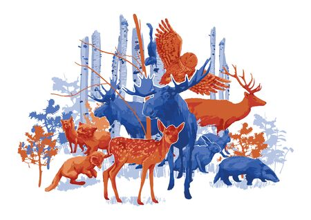Group of different forest animals with birch trees and bushes on the background. Vector illustration drawn with rough brush in contrast colors