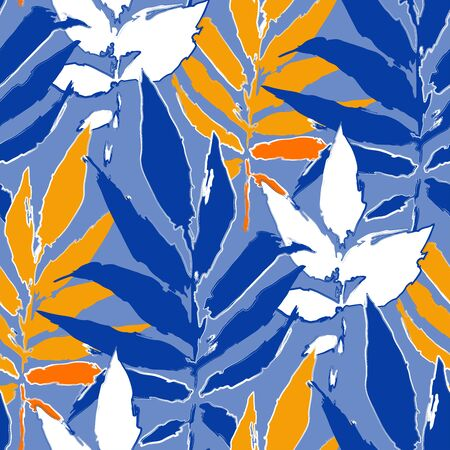 Abstract seamless pattern of exotic leaves in bright colors. Vector repeated design Stock Illustratie