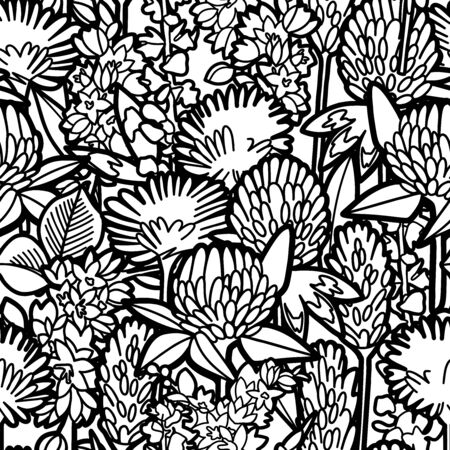 Graphic seamless pattern of wild meadow flowers in violet colors. Vectorrepeated design