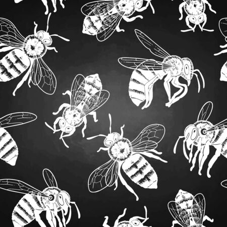 Graphic seamless pattern of realistic drawn honey bees. Vectorrepeated design Stock Illustratie