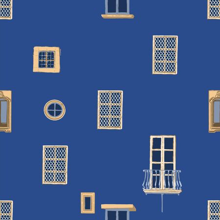 Seamless pattern of small ancient maltese windows with stone frames