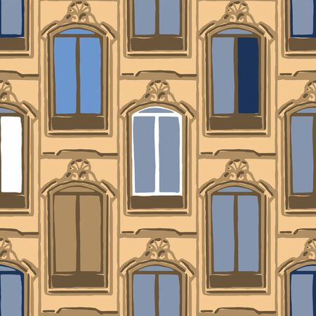 Seamless pattern of ancient maltese windows with stone frames Illustration