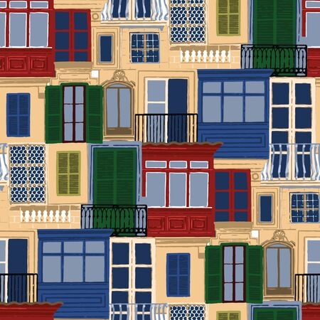 Seamless pattern of antient maltese balconies with various decorations and colors.