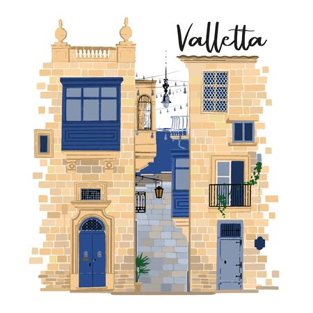 Parts of two traditional maltese houses in Valletta made of sandy stone bricks with various doors, windows and balconies Ilustração