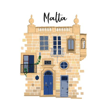 Part of traditional maltese house made of sandy stone bricks with various doors, windows and balconies Ilustração