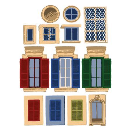 Vektorsammlung traditioneller maltesischer Fenster mit verschiedenen Dekorationen und Farben