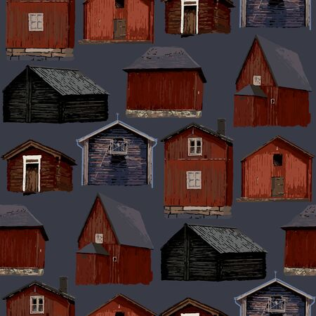 Collection of old traditional scandinavian wooden houses