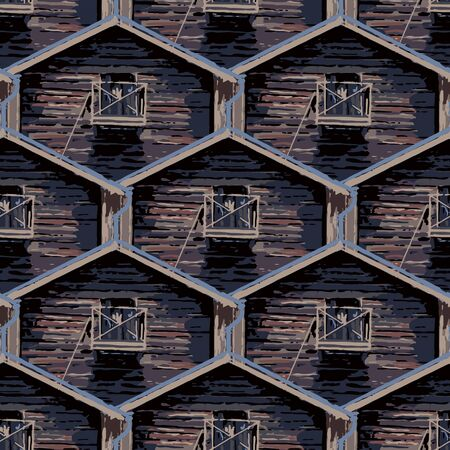 Seamless pattern of old traditional scandinavian wooden houses.