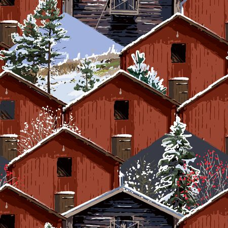 Traditional scandinavian wooden houses with coniferous trees and landscape inserts