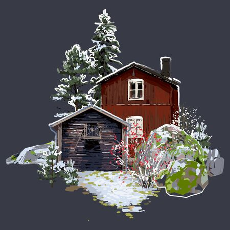 Scandinavian winter landscape with traditional wooden houses surrounded by rocks, coniferous trees and bushes. Vector natural illustration isolated on the dark gray background