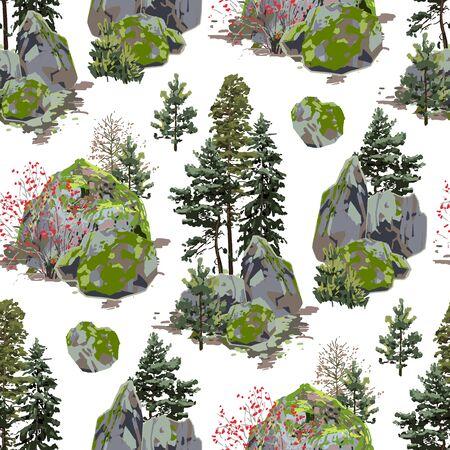 Riesiger, mit Moos bedeckter Felsen, umgeben von Nadelbäumen und Beerensträuchern