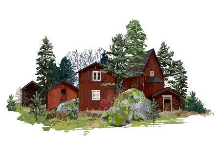 Stare tradycyjne skandynawskie drewniane domy, otoczone drzewami iglastymi i kamieniami, porośnięte mchem. Wektor naturalne ilustracja na białym tle