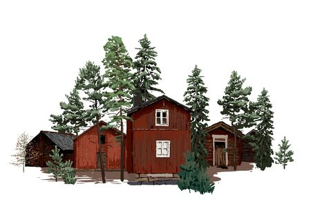 Old traditional scandinavian wooden houses, surrounded by coniferous trees. Vector natural illustration isolated on white background Illustration