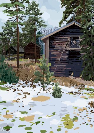 Scandinavian winter landscape with traditional wooden houses in the fields surrounded by coniferous trees