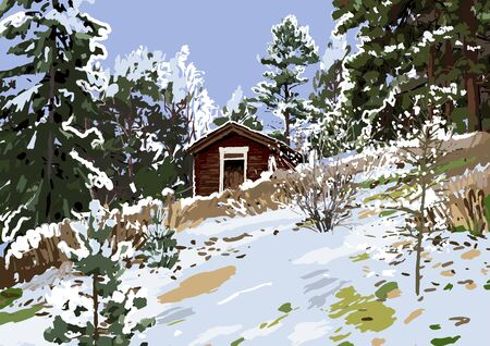 Scandinavian winter landscape with wooden house on the hillside surrounded by coniferous trees
