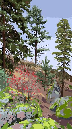 Scandinavian landscape with coniferous trees and bushes on the rocky hills. Vector natural illustration