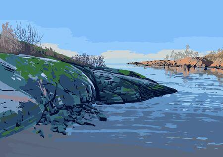 Rocky shore of the gulf of Finland. Suomenlinna, Helsinki. Vector illustration Vector Illustratie