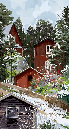 Scandinavian winter landscape with traditional wooden houses surrounded by rocks, coniferous trees and bushes