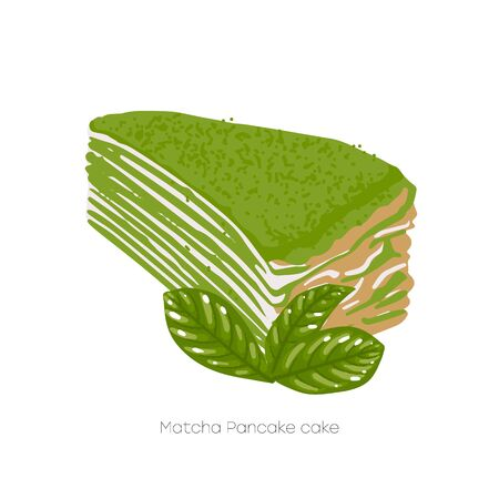 Piece of matcha pancake cakecovered with green powder, and decorated with green tea leaves. Vector isolated food art Ilustração