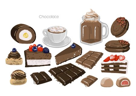 Set of sweet chocolate or coffee drinks and pastries.