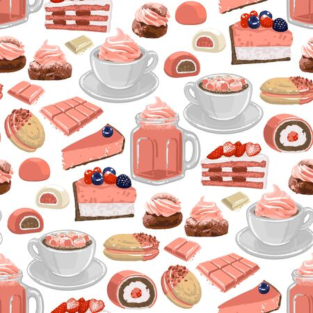 Cup of strawberry milkshake and coffee or cacao with marshmallows, surrounded by different desserts Векторная Иллюстрация