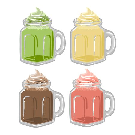 Glass square cups of milkshakes or coffee with whipped cream on the top. Matcha, strawberry, chocolate and vanilla tastes. Side view. Vector isolated collection of beverages