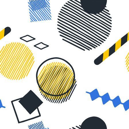 Abstract pattern of striped and outlined geometric figures in yellow, blue and dark gray colors over the white background. Repeated seamless design inspired by Stockholm metro stations