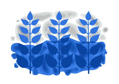 Blue colored styized ethnic branches with leaves over the soft formless structures. Abstract vector design inspired by Stockholm metro stations