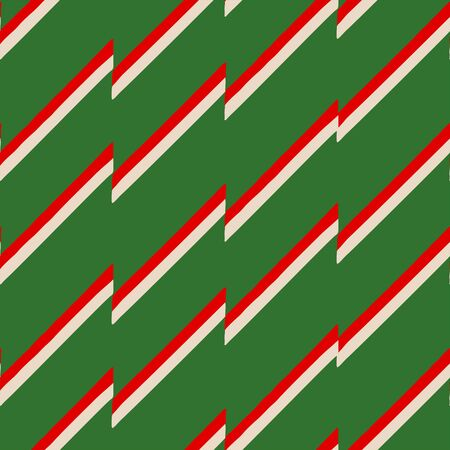 Abstract seamless pattern of oblique intermittent red and white strips