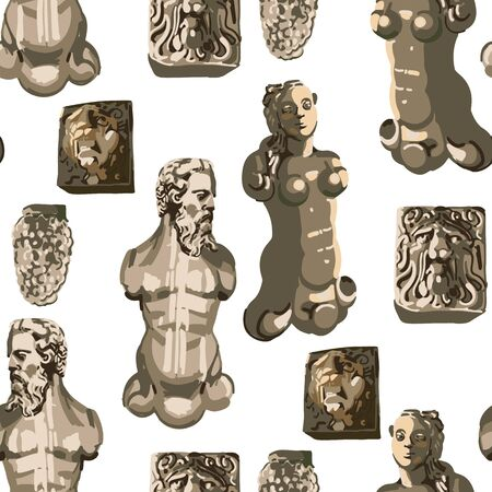 Seamless pattern of ancient statues of a muscular man with a beard, beautiful woman and growling lions heads