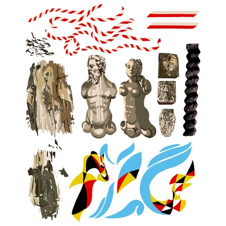 Abstract vector collection of different conceptual elements Illustration