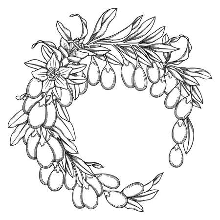 Graphic goji wreath isolated on white background