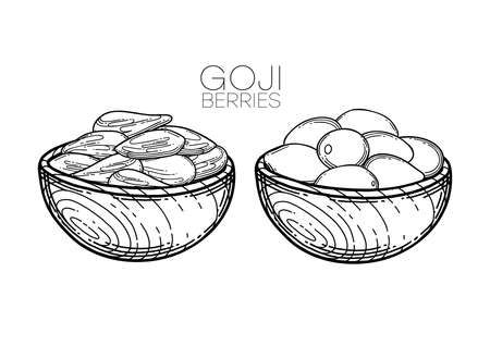 Graphic wooden bowls with dry and fresh goji berries inside