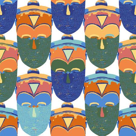 Vector seamless pattern of vintage woodenn masks. Векторная Иллюстрация