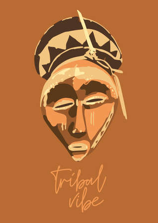 Traditional African culture attributes. Vintage woodenn mask.