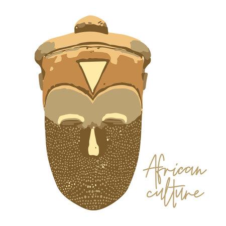 Traditional African culture attributes. Vintage woodenn mask. Векторная Иллюстрация