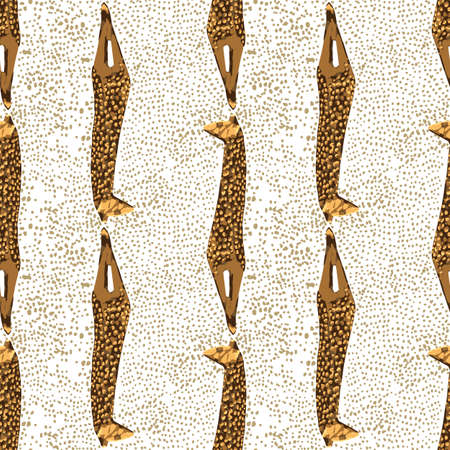 Vector repeated seamless pattern of vintage woodenn sculpture of a giraffe.