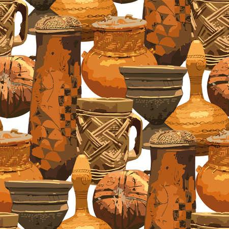 Seamless pattern of traditional African vintage vases. Векторная Иллюстрация