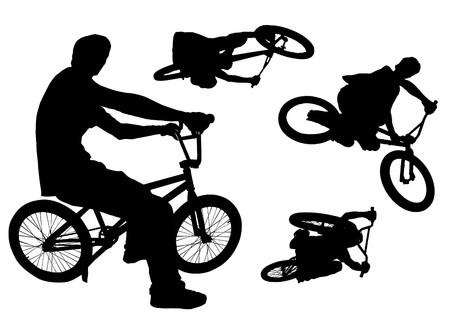 Four bmx action silhouettes isolated on white. photo
